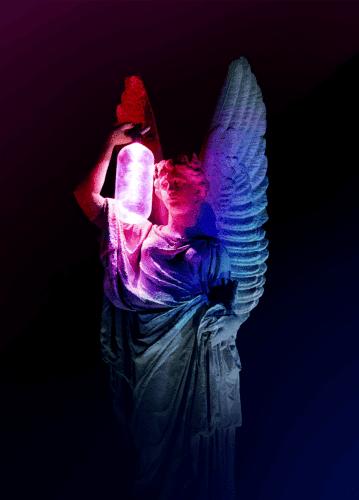 Lichtkunst, engel met lamp