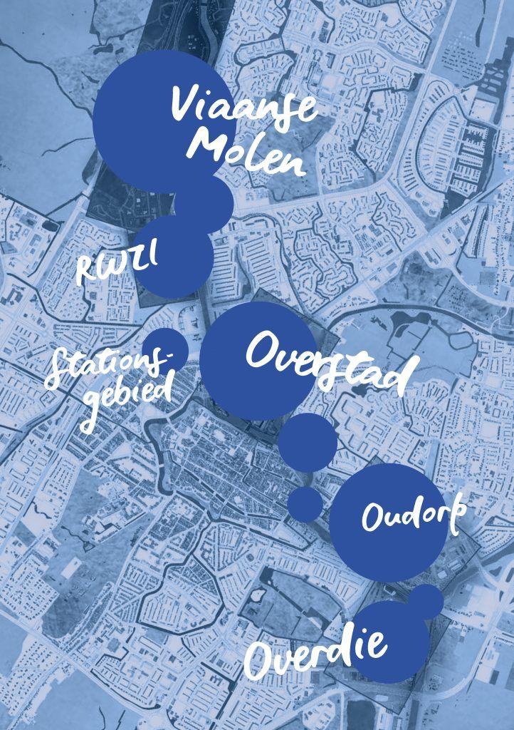 Overzichtskaart met gebieden van Alkmaars Kanaal