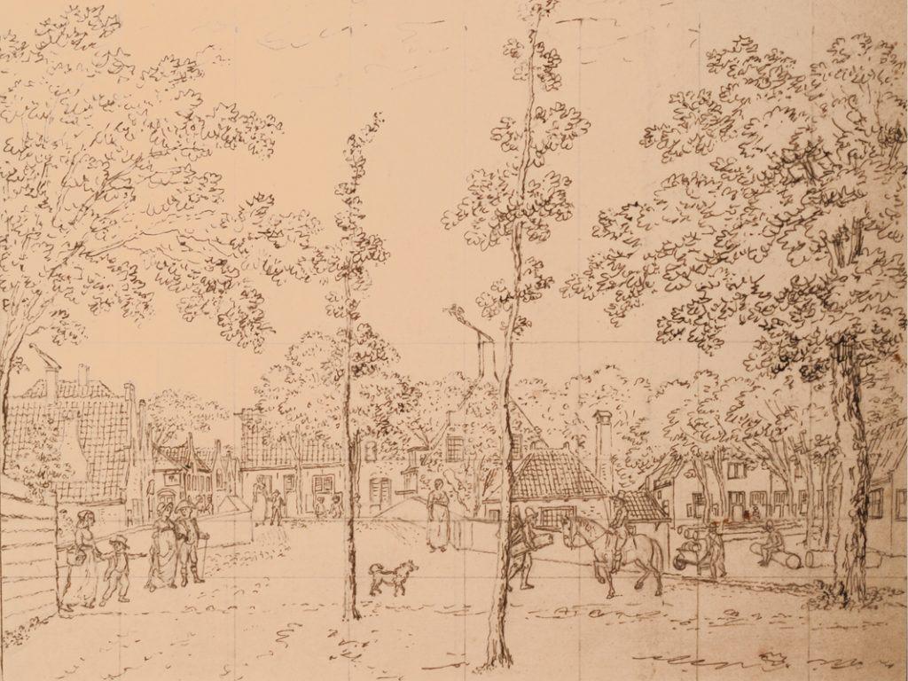 Dorpstafereel met raster; schets van Horstok in de collectie van Stedelijk Museum Alkmaar.
