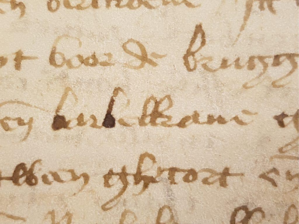 Een uitsnede uit een grafelijke rekening uit 1445 met de vermelding van de barbacane