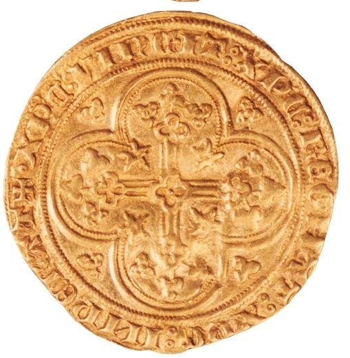 Gouden schild munt achterzijde