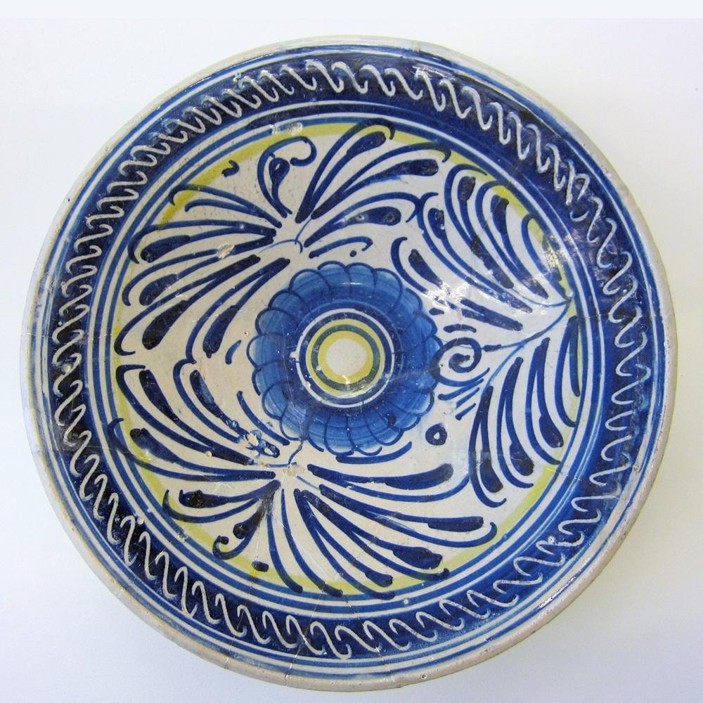 Blauw met geel majolicabord