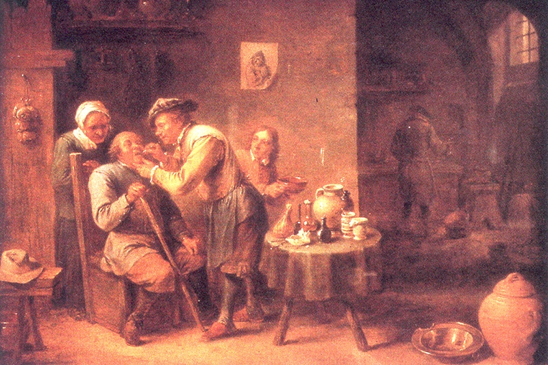 Op dit schilderij van David Teniers de Jonge (1610-1690) is te zien dat de patiënt bestolen wordt terwijl hij wordt behandeld.