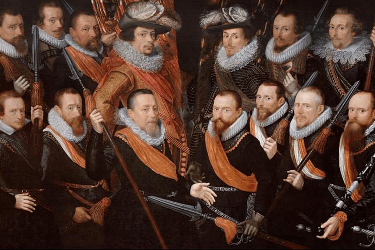 Officieren en vaandeldragers van de Oude Schutterij, 1621, olieverf op paneel, Zacharias Paulusz, Stedelijk Museum Alkmaar.