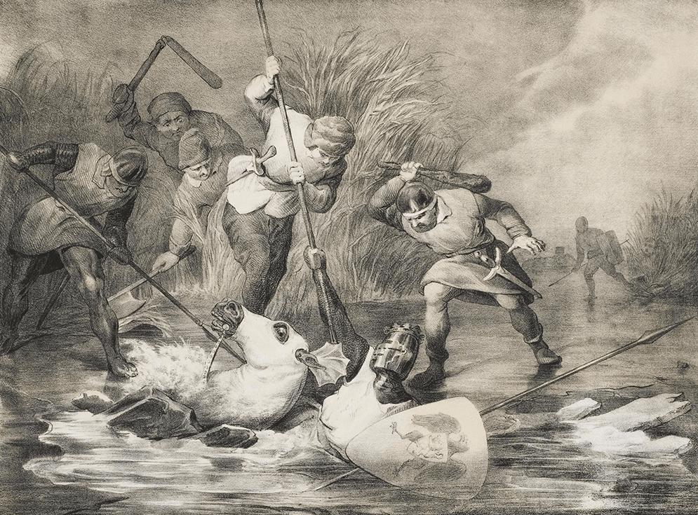 Koning Willem II zakt met zijn paard door het ijs en wordt doorstoken