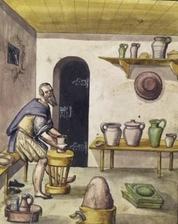 Pottenbakker uit Die Hausbücher der Nürnberger Zwölfbrüderstiftungen, omstreeks 1600