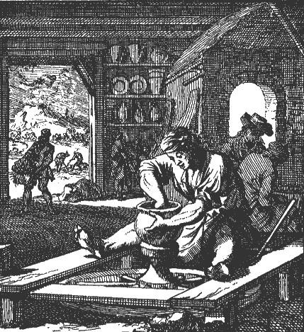 Jan Luyken De pottebacker 1694 met soortgelijk schort