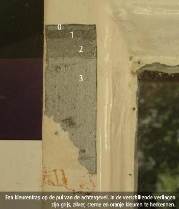 Een kleurentrap op de pui van de achtergevel. In de verschillende verflagen zijn grijs, zilver, creme en oranje kleuren te herkennen