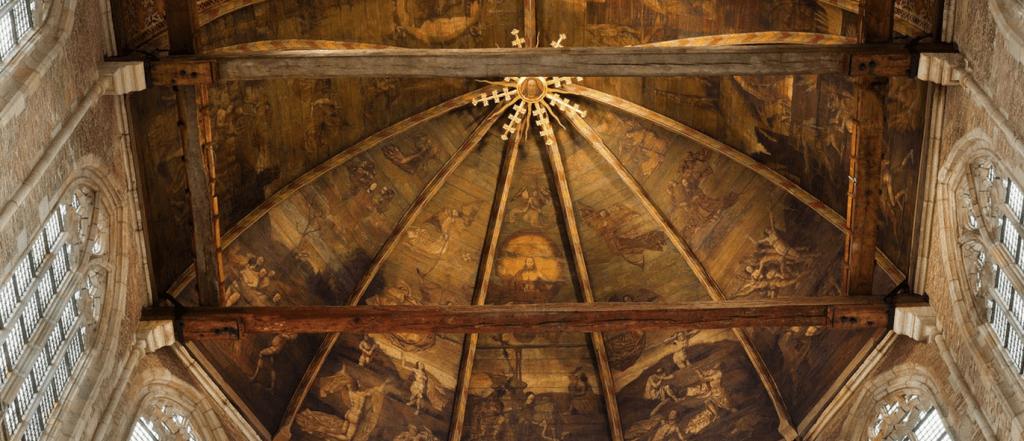 Het Laatste Oordeel. Gewelfschildering door Van Oostsanen in de Grote Sint Laurenskerk in Alkmaar