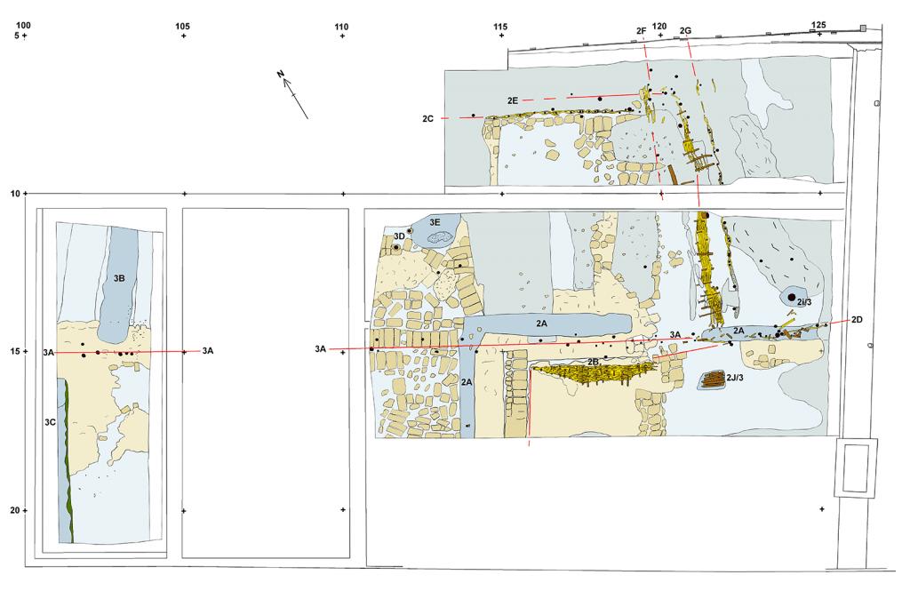 Opgraving 2018, plattegrond van 12de-eeuwse sporen: lichtgrijs eerste overstromingslaag en middelgrijs de tweede, bruin turfplaggen, rechtsonder greppel (2A), rode lijnen en geel ingekleurd vlechtwerk-hekken