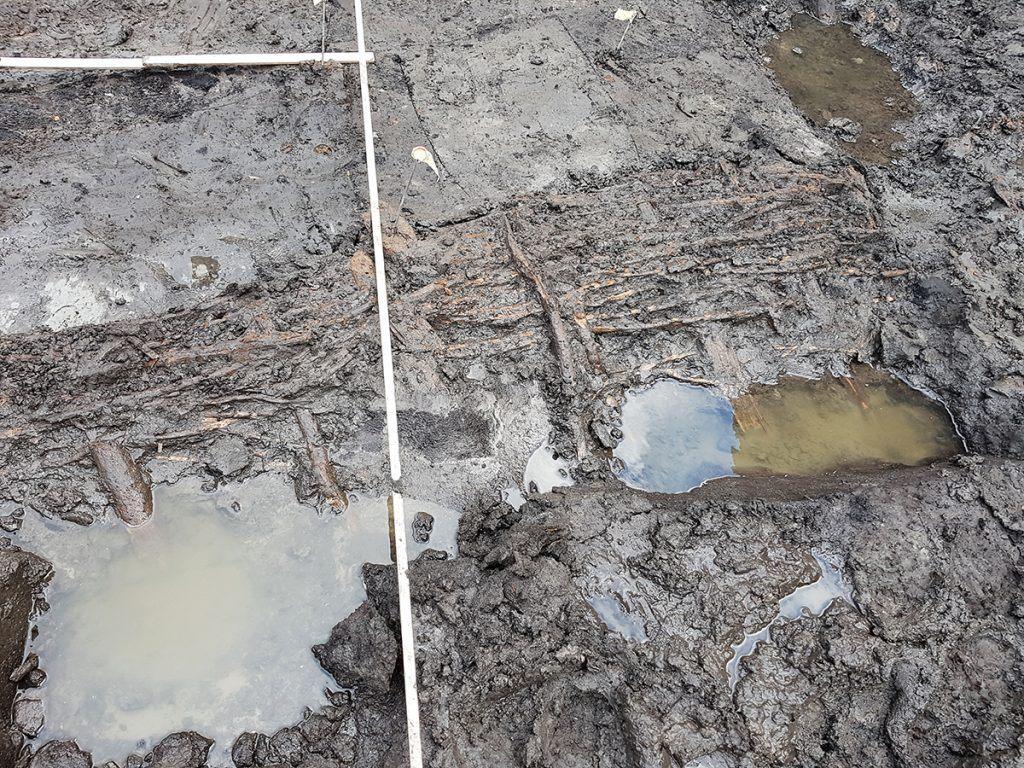 Een vlechtwerk-hek platgeslagen door de modderstroom van de tweede overstroming