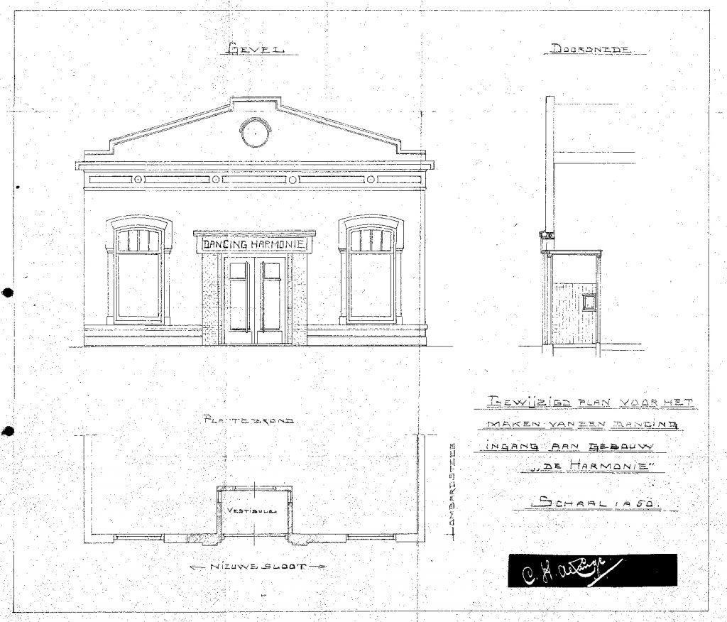 Kleuronderzoek Harmonie 1920 tekening CH de Lange aanpassing entree voorgevel