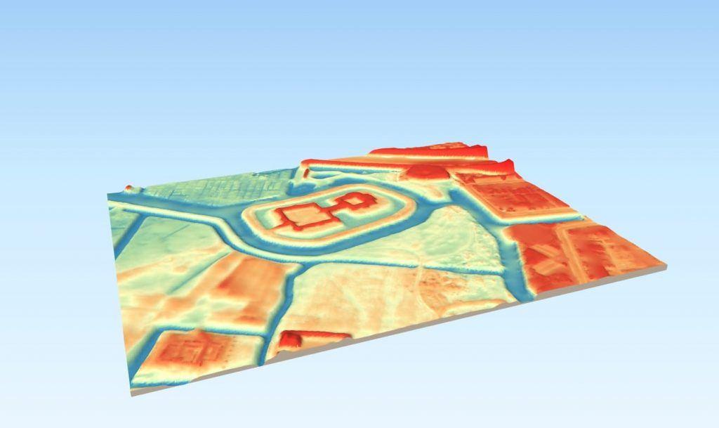 3D model van kasteel de Nieuwburg en directe omgeving. Binnen de aanduiding is het reliëf te zien van het verloop van de toegangsweg naar de Nieuwburg vanaf de Munnikenweg
