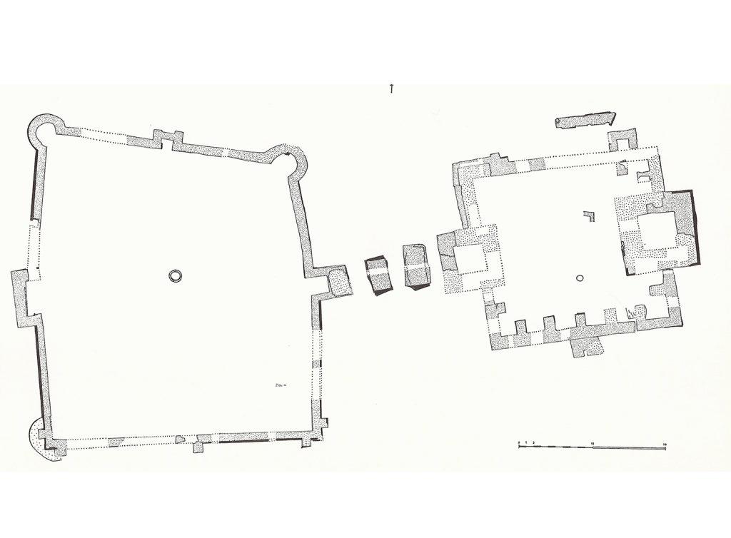 """Plattegrond van de Nieuwburg, met faseverschil tussen voorburcht (het """"castris"""" van circa 1250) en hoofdburcht (ná 1288/9) (uit Renaud 1971)"""